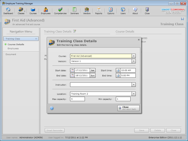 Click to view Employee Training Manager Professional screenshots
