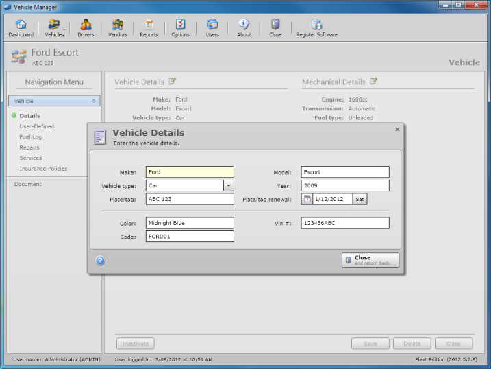 Windows 7 Vehicle Manager Professional Edition 2012.05.07.08 full