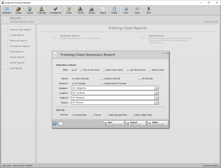 Screenshot of training class summary report.