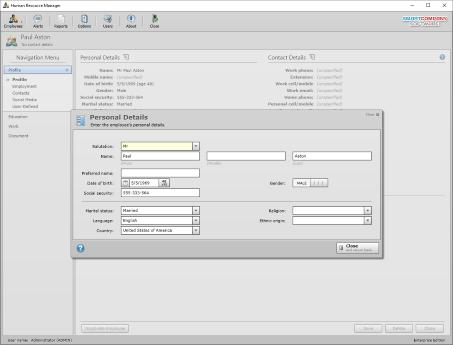 Screenshot of hr software employee detail.