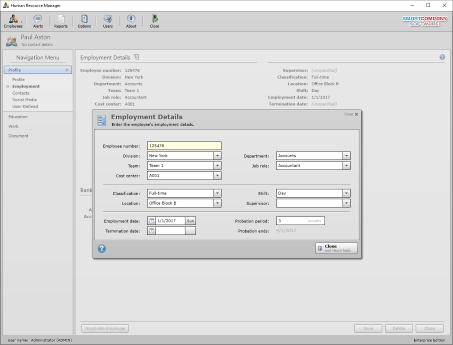 Screenshot of hr system employment details.