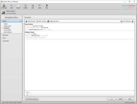 Screenshot of employee contacts.