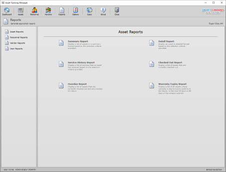 Screenshot of the reports module for reporting assets and inventory records.